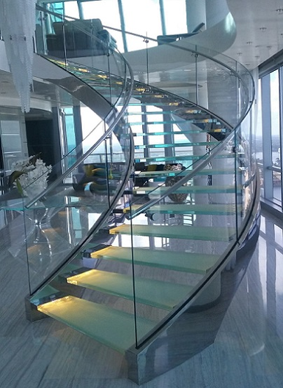 Nice ... Curved Stair Stainless Steel And Glass With Independent Floating  Stringers ...