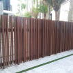 Sliding vehicular gate. Aluminum wood grain finish